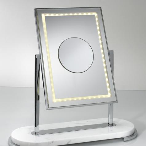 Miroir face grossissante-éclairé basculé BLANC